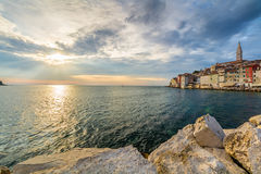 Beautiful romantic old town of Rovinj with magical sunset,Istrian Peninsula,Croatia,Europe Stock Image