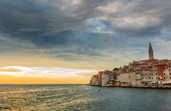 Beautiful romantic old town of Rovinj with magical sunset,Istrian Peninsula,Croatia,Europe Royalty Free Stock Photos