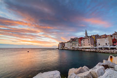 Beautiful romantic old town of Rovinj with magical sunset,Istrian Peninsula,Croatia,Europe Royalty Free Stock Image