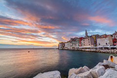 Beautiful romantic old town of Rovinj with magical sunset,Istrian Peninsula,Croatia,Europe Stock Images