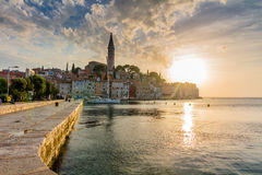 Beautiful romantic old town of Rovinj with magical sunset,Istrian Peninsula,Croatia,Europe Stock Photography