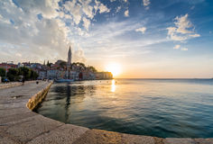 Beautiful romantic old town of Rovinj with magical sunset,Istrian Peninsula,Croatia,Europe Royalty Free Stock Photography