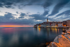 Beautiful romantic old town of Rovinj with magical sunset,Istrian Peninsula,Croatia,Europe.  royalty free stock images