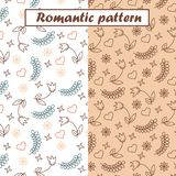 Beautiful romantic patterns set with flowers, hearts and leaves. royalty free illustration