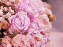 Beautiful Romantic Pink Rose Pattern in The Big Bouquet of Flowers Vase for Interior Des stock photos