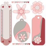 Beautiful romantic pink tag collection Royalty Free Stock Images
