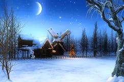 Beautiful romantic winter Christmas landscape at night. Beautiful romantic snowcovered winter Christmas landscape with a starry night, 3d render painting royalty free stock image