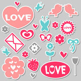 Beautiful romantic stickers Royalty Free Stock Images