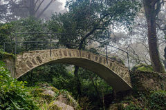 Beautiful romantic stone bridge in fairy forest Pena palace Royalty Free Stock Image