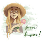 Beautiful romantic summer girl in a straw hat with a dainty flower peony. Vector illustration of a beautiful romantic summer girl in a straw hat and a dot dress Royalty Free Stock Images