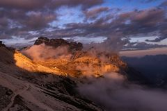 Golden eye by sunset near Tre Cime di Lavaredo, Italy stock photo