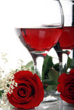 Beautiful, Romantic Valentines Roses And Wine Royalty Free Stock Image