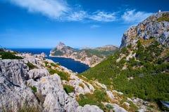 Beautiful romantic views of the sea and mountains. Cap de formentor - coast of Mallorca, Spain - Europe. Beautiful romantic views of the sea and mountains. Cap Royalty Free Stock Photography
