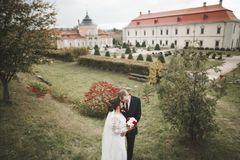 Beautiful romantic wedding couple of newlyweds hugging near old castle.  stock images