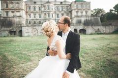 Beautiful romantic wedding couple of newlyweds hugging near old castle Royalty Free Stock Photo