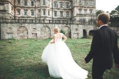 Beautiful romantic wedding couple of newlyweds hugging near old castle Stock Photo