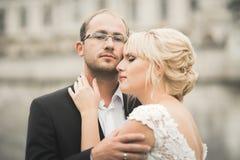 Beautiful romantic wedding couple of newlyweds hugging near old castle Stock Image