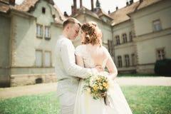 Beautiful romantic wedding couple of newlyweds hugging near old castle Stock Photos