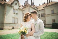 Beautiful romantic wedding couple of newlyweds hugging near old castle Stock Photography