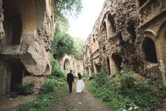 Free Beautiful Romantic Wedding Couple Of Newlyweds Hugging Near Old Castle Stock Photos - 74125593