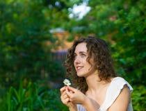 Beautiful romantic woman  daisy flower Royalty Free Stock Image