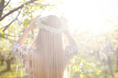 Beautiful romantic woman with long blond hair in a wreath Stock Images