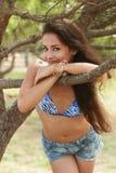 Beautiful romantic woman looking happy Stock Photo