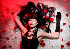 Beautiful and romantic woman with red rose Stock Image
