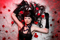 Beautiful and romantic woman with red rose Royalty Free Stock Photos