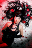 Beautiful and romantic woman with red rose Royalty Free Stock Photo