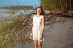 Beautiful romantic woman on tropical beach Royalty Free Stock Photo
