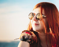Beautiful  romantic young woman  in sunset light Stock Image