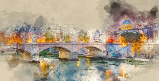 Beautiful Rome - amazing evening view over River Tiber and its ancient bridges. Illustration Stock Images