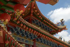 Beautiful roof decoration of Thean Hou temple. Beautiful low angle view of the majestic Thean Hou temple roof decoration located in Kuala Lumpur, Malaysia stock images