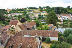 Beautiful roof of French village. Beautiful postcard of a peaceful French village with a river stock images