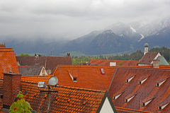Beautiful roofs of houses in Fussen Royalty Free Stock Photography