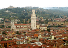 Beautiful Rooftop View of Verona Old Town with the Bell Tower of Duomo Church Stock Photos