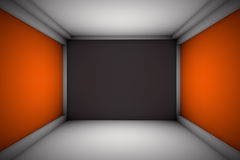 Beautiful Room with Advertising Walls. Room orange opposite walls.Black front wall.Gradient everywhere except front wall Stock Photography