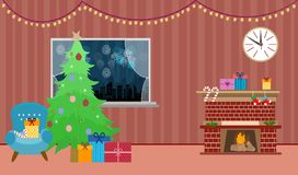 A beautiful room with a fireplace and a window with a Christmas tree salute and garlands for the new year in the winter in a decar royalty free illustration