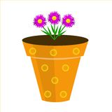 A beautiful room flower is in a pot, illustration Stock Images