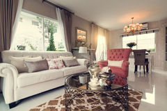 Beautiful room interior with hardwood floors and view of new lux Royalty Free Stock Photos