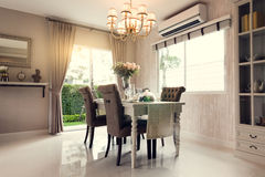 Beautiful room interior with hardwood floors and view of new lux Stock Images