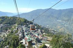 Beautiful ropeway of Gangtok city,Sikkim,India one of the travel destination stock images