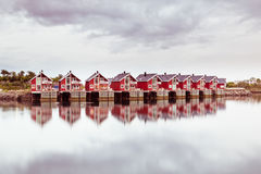 Beautiful rorbu or fishermans houses in Svolvaer Lofoten in Norw royalty free stock photo