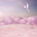 Rosa Fairy tale. The beautiful rosa Background with terrace and free Bird Stock Image