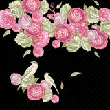 Beautiful Rose Background with Birds Royalty Free Stock Photography