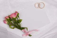 Beautiful rose and card Stock Photography