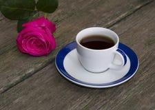 Beautiful rose and coffee, festive card Stock Image