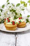 Beautiful rose cupcake and bird cherries Royalty Free Stock Images