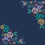Beautiful rose frame on blue background royalty free illustration
